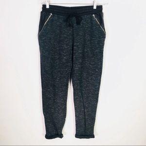 Zara Trafaluc Black Grey Sweatpants Faux Leather M